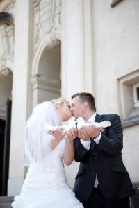 Tauben und Brautpaar